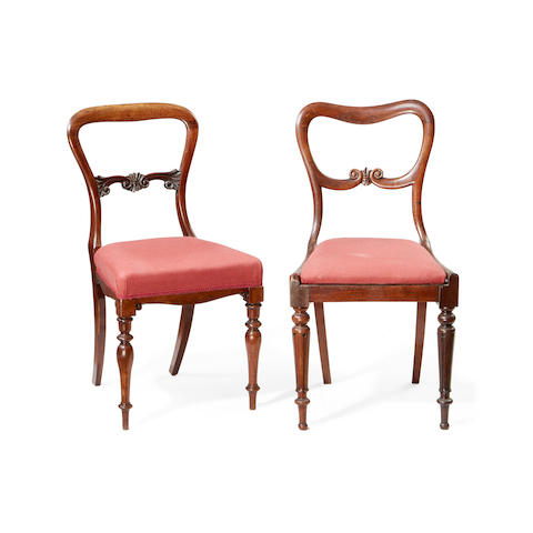 A matched set of eight William IV rosewood dining chairs