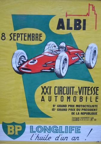 Affiche pour le XXIe  Circuit de Vitesse d'Albi, en français,