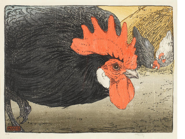 Allen W(illiam) Seaby (British, 1867-1953) 2 Colour woodcuts Cockerel  2