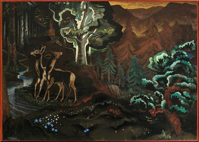 Gustave Miklos (1888-1967) 'Les Biches dans un sous bois', 1942
