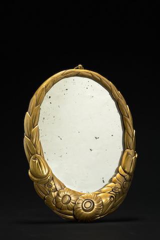 Louis Süe (1875-1968) et André Mare (1885-1932), Attribué à Miroir en bronze doré, circa 1920