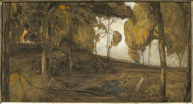 George de FEURE Tableau(petit) 'Paysage mélancolique'