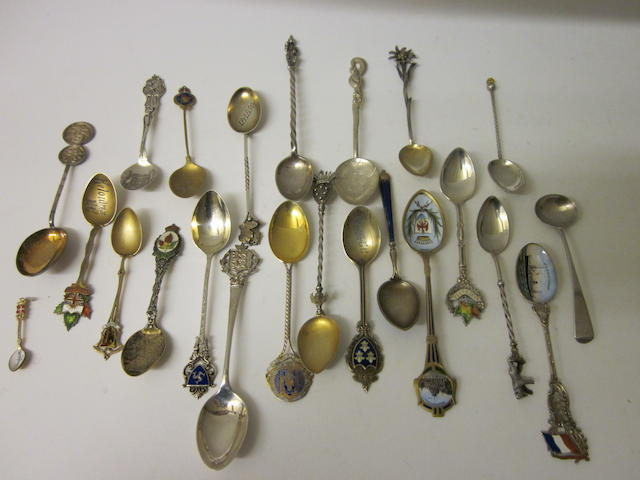 A small collection of souvenir spoons,   (23)
