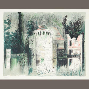 John Piper C.H. (British, 1903-1992) Scotney Castle Lithograph printed in colours, 1976, on TH Saunders, signed and numbered 32/120 in pencil, printed at Curwen Studio, published by CCA Galleries with their blindstamp, 440 x 565mm (17 1/4 x 22 1/4in)(I)