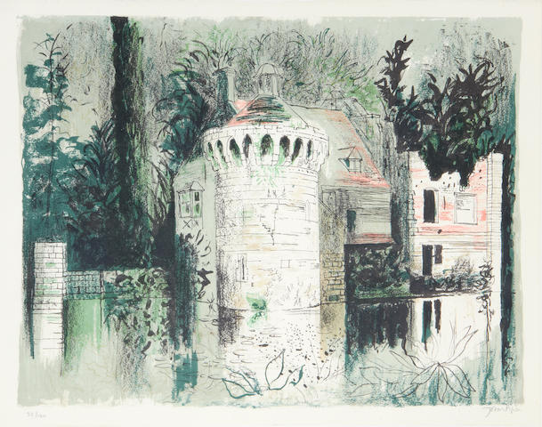 John Piper C.H. (British, 1903-1992) Scotney Castle Lithograph printed in colours, 1976, on TH Saunders, signed and numbered 32/120 in pencil, printed at Curwen Studio, published by CCA Galleries, with their blindstamp, 440 x 565mm (17 1/4 x 22 1/4in)(I)