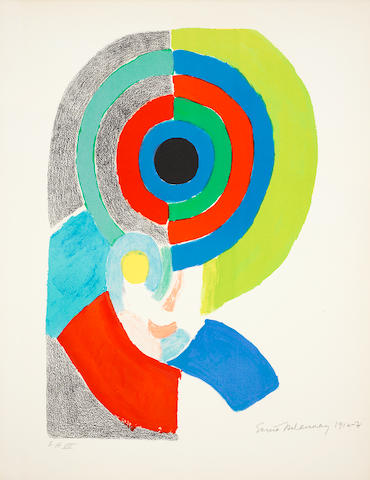 Sonia Delaunay (French, 1885-1979) Composition with preparatory self portrait Lithograph printed in colours, on Arches, signed, dated 1916-17 and numbered 'EA VII' in pencil, 660 x 505mm (26 x 19 7/8in)(SH) unframed