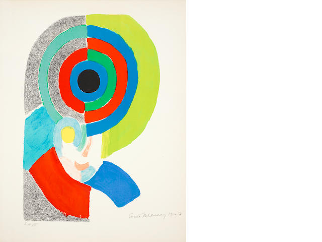 Sonia Delaunay (French, 1885-1979) Figure on Arches, signed, dated 1916-17 and numbered 'EA VII' in pencil,