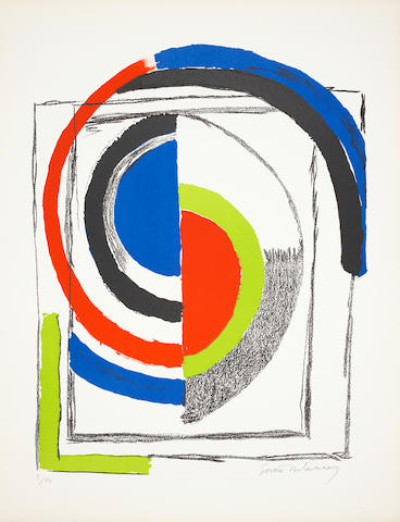 Sonia Delaunay (French, 1885-1979) Composition in red, blue and green Lithograph printed in colours, c1970, on Arches, signed and numbered 5/75 in pencil, 650 x 500mm (25 5/8 x 19 5/8in)(SH) unframed