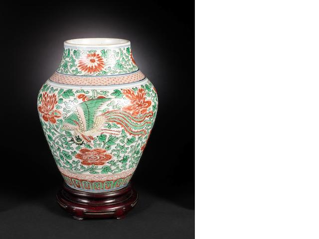 A wucai oviform vase Shunzhi/Chongzhen