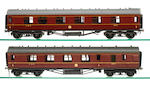 A SET OF FOUR LMS PERIOD 3 COACHES IN A CASE, 2 X 1ST CLASS CORRIDOR COACHES, FURNISHED, 1 X IST CLASS CORRIDOR 1/2 BREAK, FURNISHED, 1 X 3RD CLASS VESTIBULE, FURNISHED, 10MM/FT SCALE, BY PETER ROGERS