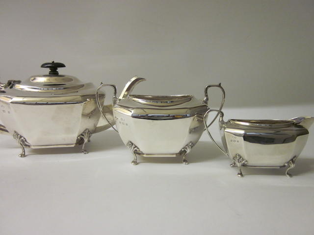 A three piece silver tea service Birmingham 1924,  (3)