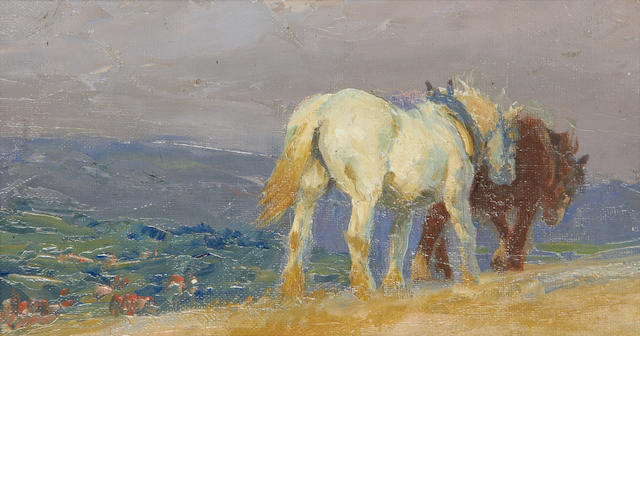 Lucy Elizabeth Kemp-Welch (British, 1869-1958) Ploughing on the Downs