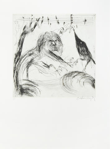 Arthur Boyd (1920-1999) Figure and bird etching, signed and number