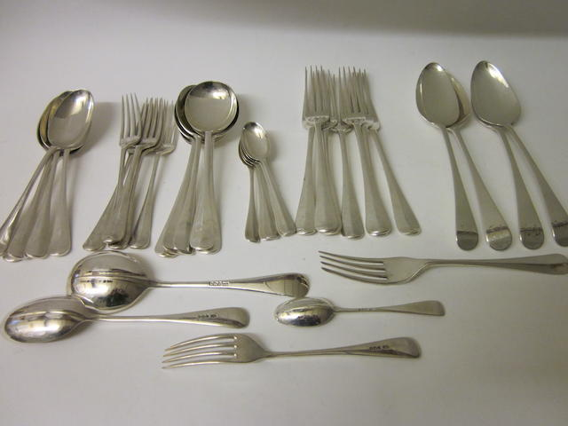 A composite canteen of rat-tail pattern  flatware mixed dates and makers,   (36)