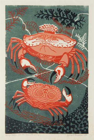 Edward Bawden R.A. (British, 1903-1989) Aesop's Fables: The Old Crab & The Young colour linocut, 1955, signed, dated and titled, an artist's proof aside from the numbered edition of 50, with full margins, 378 x 243mm (15 1/2 x 9 1/2in)(B)