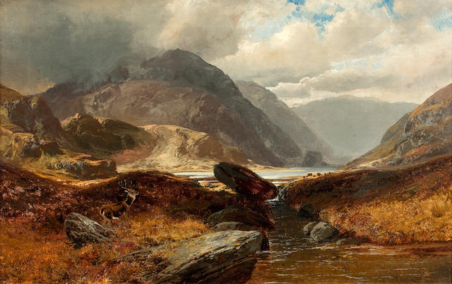 Clarence Henry Roe (British, 1850-1909) Stag in a Highland landscape