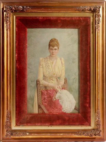 A William Godwin plaque painted with a portrait of Princess Mary of Teck, dated 1893