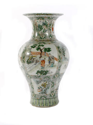 A Chinese famille verte baluster vase, 19th century