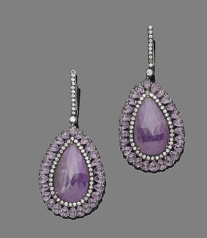 A pair of pink sapphire and diamond pendent earrings