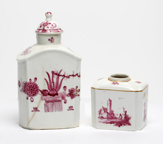 A Limbach tea canister and cover and another tea canister, 18th century