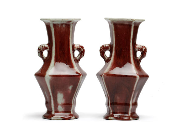 A pair of Chinese sang de boeuf vases