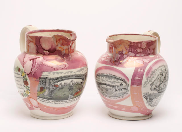 Two Sunderland lustre jugs, early 19th century
