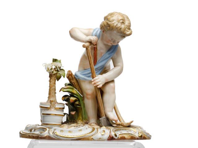 A Meissen figure of a gardener, circa 1870
