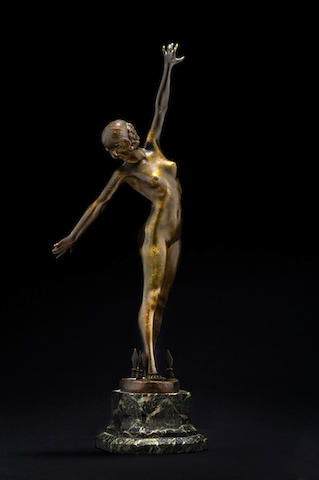 Fernand Ouillon-Carrère 'Sword Dancer' a Patinated Bronze Study, circa 1919