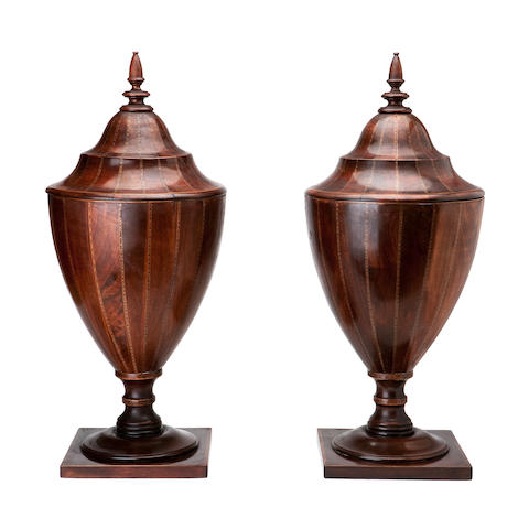 A pair of George III mahogany and inlaid urn shaped knife boxes