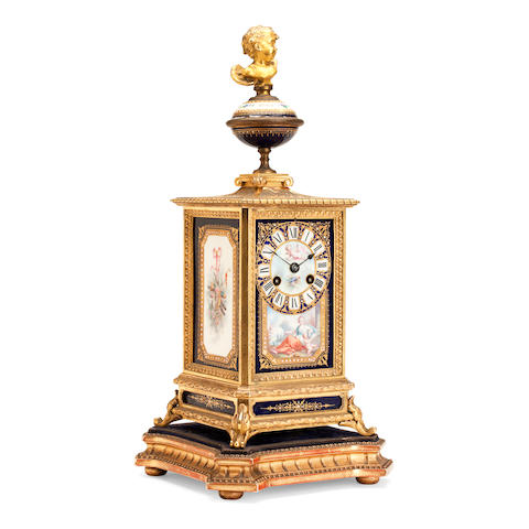 A French ormolu mounted and Sèvres pattern porcelain square section mantel clock