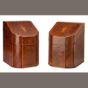A pair of George III mahogany breakfront knife boxes 36cm high.