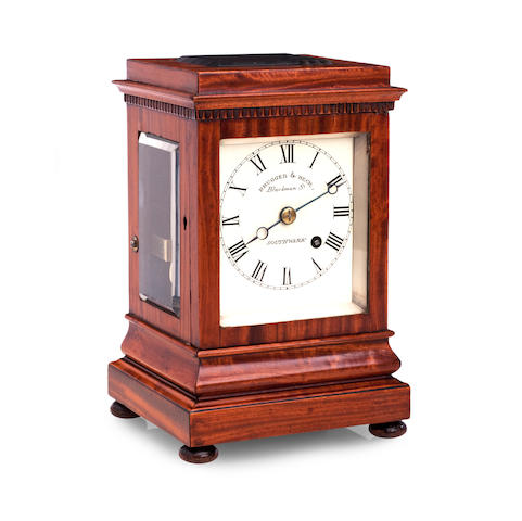 A Regency satinwood cased bracket clock Inscribed Brugger & Beck, Blackman St, Southwark