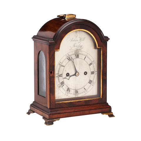 A small George III mahogany bracket clock engraved to the dial John Hill London