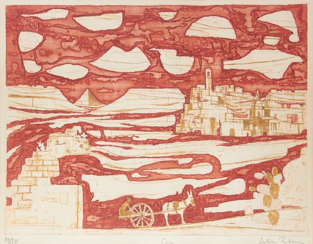 Julian Trevelyan R.A. (British, 1910-1988) Gozo etching with aquatint printed in colours, 1959, signed, titled and numbered 19/50 in pencil, printed by John Brunsdon, published by St George's Gallery, London, 380 x 497mm (15 x 19 1/2in)(PL)