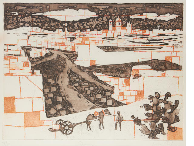 Julian Trevelyan R.A. (British, 1910-1988) Quarries etching with aquatint printed in colours, 1959, signed, titled and numbered 38/50 in pencil, printed by John Brunsdon, published by St George's Gallery, London, 380 x 495mm (15 x 19 1/2in)(PL)