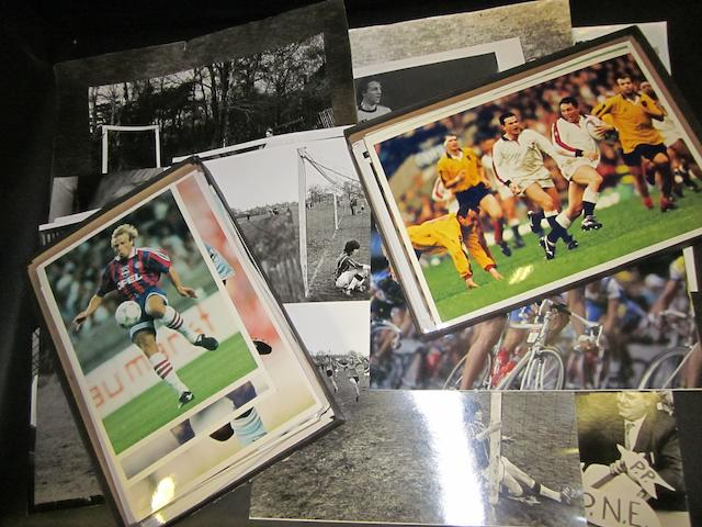 A collection of sporting photographs, including work by Gerry Granham and Mark Leech, mainly football and rugby.