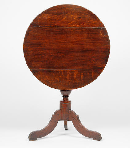 A mid-18th century oak tripod table