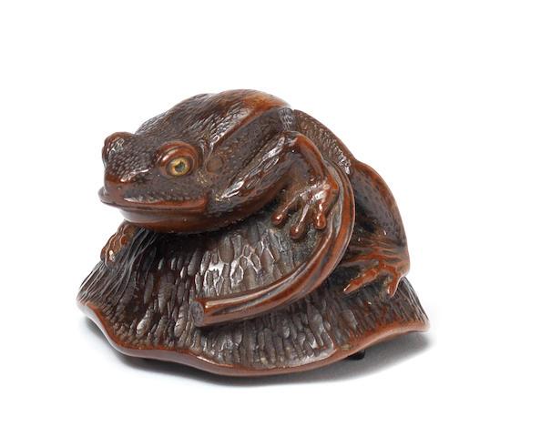 A wood netsuke of a tree-frog on a lotus seed pod By Matsuda Sukenaga, Takayama, Hida province, 19th century