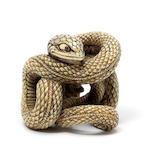 An ivory netsuke of a snake 19th century