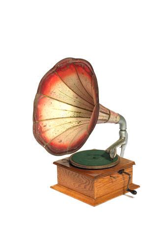 A horn gramophone,