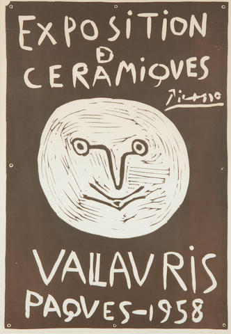 Pablo Picasso (Spanish, 1881-1973) Exposition de Ceramiques - Vallauris 1958 (Czwizlitzer 29; Ba 1047; Bloch 1279) Linocut poster in brown, 1958, one of 25 artist's proofs aside from the numbered edition of 100 without text, printed by Arnera Vallauris, Paris, with margins, 668 x 440mm (26 1/4 x 17 1/4in)(SH)