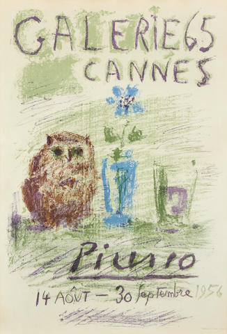 Pablo Picasso (Spanish, 1881-1973) Owl, Glass and Flower - Galerie 65, Cannes (Mourlot 282; Bloch 1272; Czwiklitzer 21) Lithograph printed in colours, 1956, on thin off-white wove poster paper, from the edition of 2000, printed by Mourlot, Paris, published by Galerie 65, 685 x 480mm (27 x 19in)(SH)