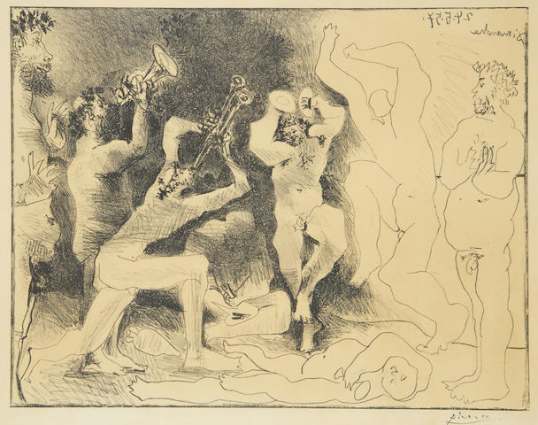 Pablo Picasso (Spanish, 1881-1973) The Dance of the Fauns Lithograph, 1957, on Arches, from the unsigned edition of 1000, the full sheet, 485 x 640mm (18 7/8 x 25 1/8in)(SH)