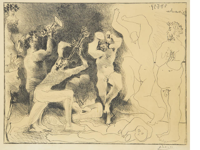 Pablo Picasso (Spanish, 1881-1973) The Dance of the Fauns (Bloch 830; Mourlot 291) Lithograph, 1957, on Arches, from the unsigned edition of 1000, the full sheet, 485 x 640mm (18 7/8 x 25 1/8in)(SH)