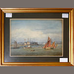English School, 19th Century Shipping scene with hay barge and other vessels on a river