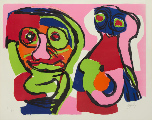 Karel Appel (Dutch, 1921-2006) Deux Visages Lithograph printed in colours, 1969, on Arches, signed, dated and numbered 54/75 in pencil, 500 x 640 mm (19 3/4 X 15 1/4in)(I)