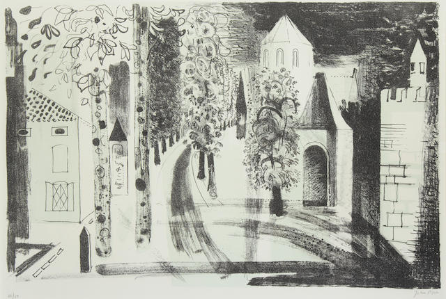 John Piper CH (British, 1903-1992) Surgeres Lithograph, 1958, on J. Whatman, signed and numbered 48/50 in pencil, printed and published by Harley Brothers, Edinburgh, 430 x 645mm (17 x 25 1/2in)(I)