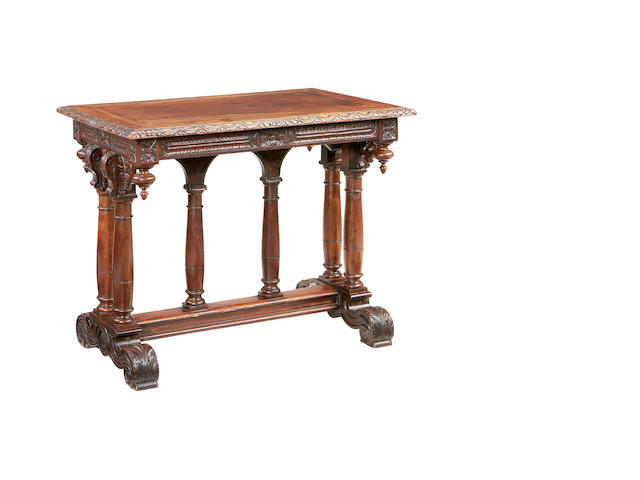 A French 19th century 'Renaissance revival' walnut library centre table  in the Henri IV/Louis XIII style