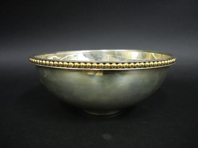 A modern silver bowl by Mappin & Webb, London 2002