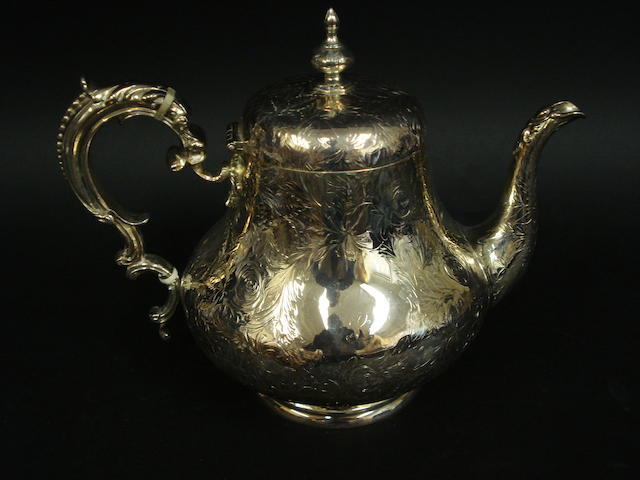 A Victorian silver baluster teapot by Robert Hennell II, London 1854